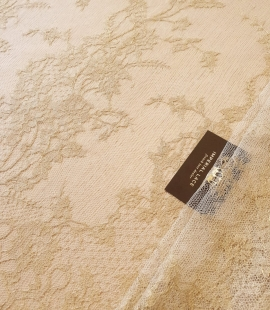 Ivory with gold thread 20% viscose chantilly lace fabric