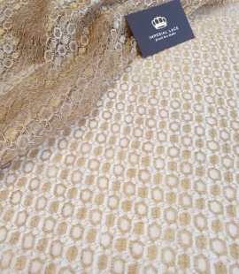 Gold viscose chantilly lace fabric