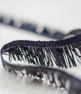 Black grosgrain ribbon with plastic fringes
