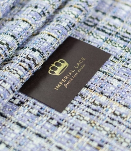 Lilac with blue shade with multicolor tweed fabric