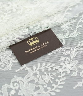 Champagne color embroidery on tulle fabric