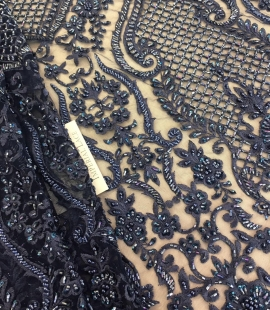 Blue 3D beaded lace fabric