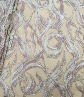 Old rose beaded lace fabric
