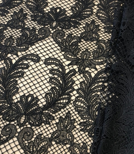 Black macrame thick guipure lace fabric