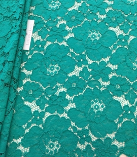 Green floral pattern guipure lace fabric