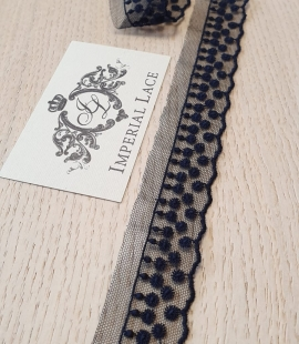 Dark blue dots on tulle lace trimming