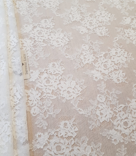 Elastic ivory lace fabric
