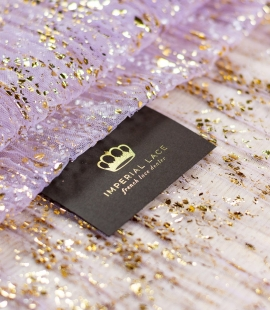 Lilac with gold foil crinkle tulle fabric
