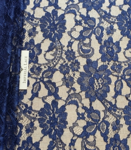 Marine blue chantilly natural lace fabric