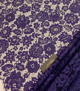 Dark purple floral guipure lace fabric