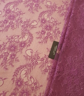 Lilac 100% polyester floral pattern chantilly lace fabric