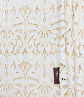 White with light brown macrame lace fabric