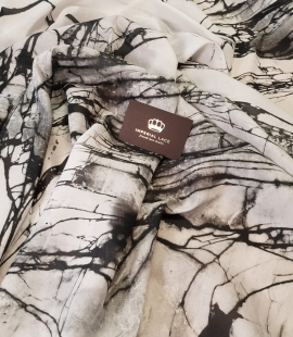 White and black marble pattern silk crepe chiffon fabric