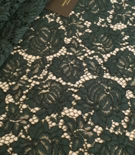 Dark green cotton polyester chantilly lace fabric