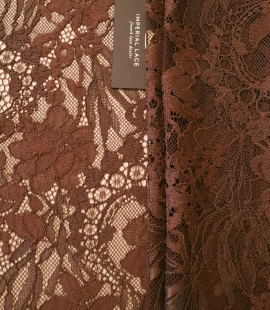 Brown floral pattern guipure lace fabric