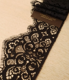 Black 100% polyester guipure lace trimming