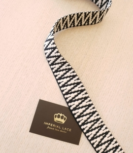 Black with white geometric thick ribbon applicattion