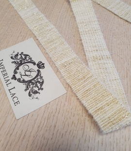 ivory with gold thread rubber ribbon