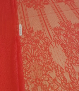 Red chantilly lace fabric