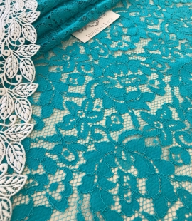 Blue French lace fabric
