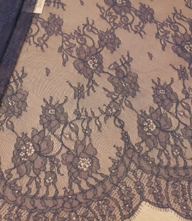 Blue chantilly lace fabric