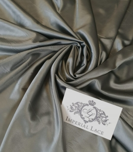 Olive polyester with elastane satin fabric