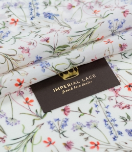 White with romantic floral pattern silk fabric