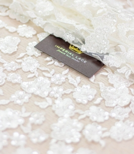 Ivory floral pattern beaded embroidery on tulle fabric