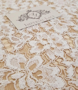 Ivory with Brown Lace Fabric