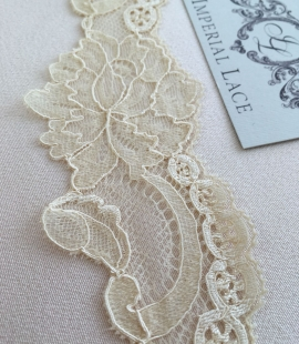 Sand yellow elastic lace trim