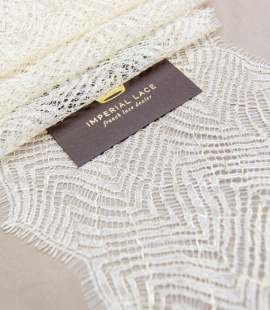 Ivory with gold thread organic pattern chantilly lace trimming