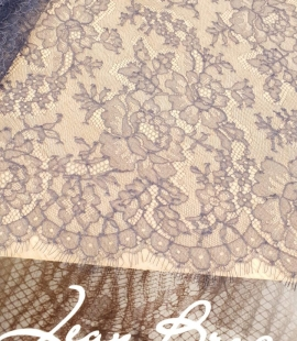 Bluish grey natural chantilly lace fabric by Jean Bracq