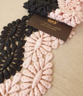 Black and pink macrame cotton lace trimming