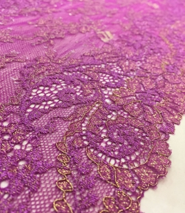 Violet with gold lace trim