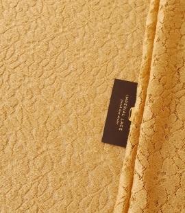 Mustard yellow 100% wool guipure lace fabric
