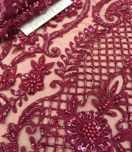 Red beads lace fabric 3D
