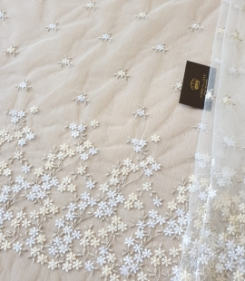White with white, beige and gold embroidery tulle fabric