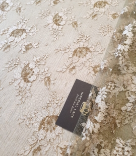 Moss green with beige and bronze thread chantilly lace fabric