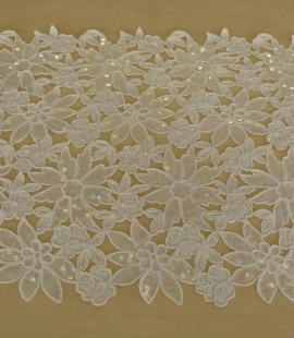 White floral pattern lace fabric with sequins