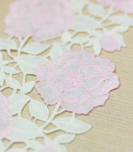 Pink with white floral macrame lace trim