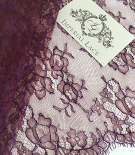 Cardovan with lilac thread lace trim