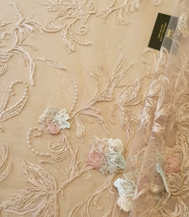 Beige with multicolor 100% polyester floral embroidery on tulle lace fabric