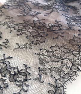 Navy blue chantilly lace trim from France