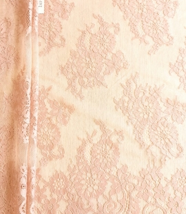 Powder color Chantilly lace fabric