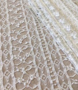 Elastic ivory lace fabric