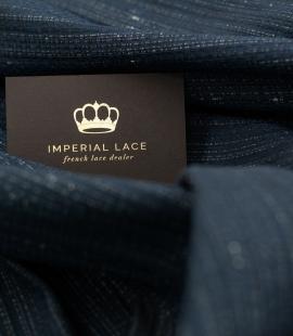 Dark blue with silver jacquard fabric