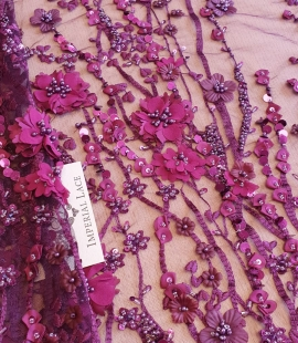 Lilac 3D lace fabric
