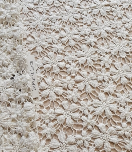 Darkish ivory 100% cotton macrame lace fabric