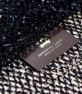 Black beaded mesh fabric