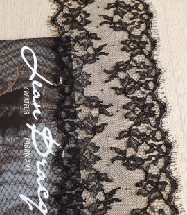 Black natural chantilly lace trimming by Jean Bracq